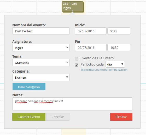 Añadir evento Calendario