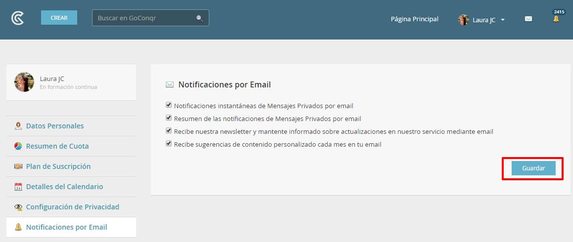 GoConqr  Notificaciones por Email