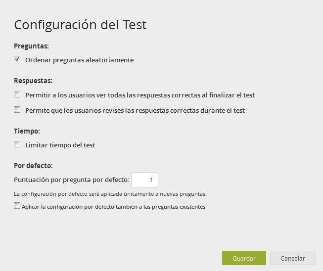 Configuración del Test